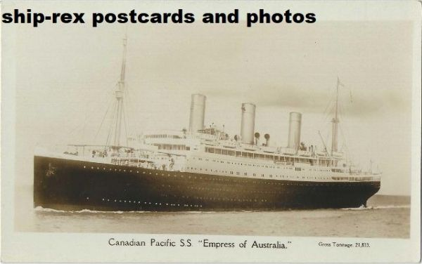 EMPRESS OF AUSTRALIA (1922a, Canadian Pacific) postcard (a)